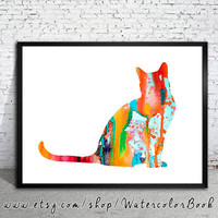 Cat 8 Watercolor Print, Fine Art Print, Children's Wall, Art Home Decor, cat watercolor, watercolor painting, watercolor animal, cat poster,