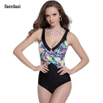 Plus Size V Neck Backless Printed 1 Piece Swimsuit
