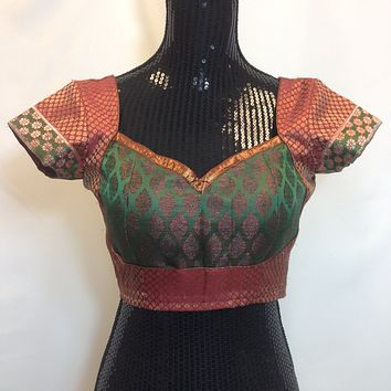 PartyWear Brocade Blouse - Maroon and Green
