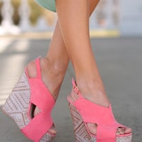 The Fiona Wedge, Pink Suede