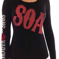 Sons Of Anarchy Girls Long Sleeve T-Shirt - Big Red SOA
