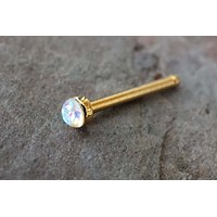 Rose Gold Nose Ring / Rose Gold Opal Nose Stud with 2mm White Opal