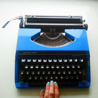 Blue Typewriter - 1960s Silver Reed Portable with Case, Working Order