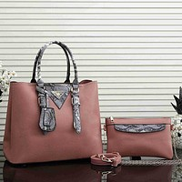 Prada Women Leather Fashion Handbag Tote Crossbody Shoulder Bag Set Two Piece