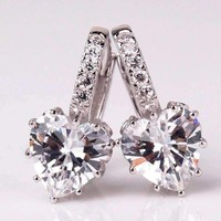 18K Gold Plated Heart Shaped 5.5 Ctw Diamond CZ Solitaire Hoop Earrings for Woman