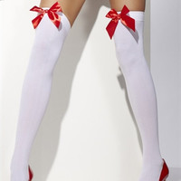 Thigh High Stockings with Red Bow