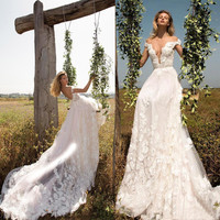 romantic boho wedding dresses 2017 appliques lace cap sleeve tulle marry dress  women wedding guest gown vestido noiva