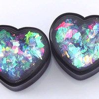 """Blue Swirl Confetti Heart plugs embedded resin filled - Made to Order 00g,1/2,9/16,11/16,3/4,7/8,1"""""""