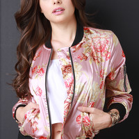 Charmeuse Floral Zip Accent Bomber Jacket