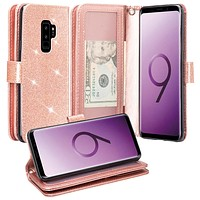 Galaxy S9 Plus Case, Samsung Galaxy S9 Plus Case, Glitter Faux Leather Flip Credit Card Holder Wrist Strap Shockproof Protective Wallet Case Clutch for Samsung Galaxy S9 Plus - Rose Gold