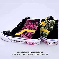 Vans Tide brand new black and white powder color printing pattern shoes