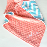 Personalized Baby Blanket or Lovey -  Baby Girl or Boy blanket - Custom Made - You Choose Minky Color - Turquoise Chevron, Coral, Pink