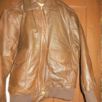 80s brown leather  Forenza  motorcycle bomber jacket    size med