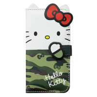 Hello Kitty Bifold iPhone 6 Soft Case Cover Card Slots Mirror JAPAN iPhone6 Green Camouflage