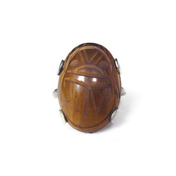 Sterling Scarab Ring, Silver Ring, Tigers Eye, Beetle Scarab, Statement Ring, Egyptian Revival Vintage Ring, Vintage Jewelry