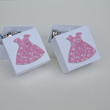 Pink Dress Party Favors Box, 1st Birthday, Candy Box, First Communion Favor Box, Girl Baptism Favor, Girl Baby Shower Favor Box- Set of 12