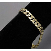 Men's 14K Yellow Gold Plated 9 Inches Chain Cuban Link Bracelet 8 mm Curb Chain