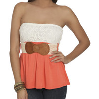 Blocked Lace Tube Top   Shop Just Arrived at Wet Seal