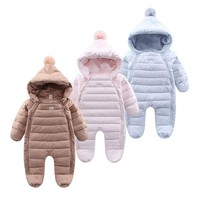Baby Rompers Newborn Baby Boy Girl Thick Warm Duck Down Winter Snowsuit Baby Cute Hooded Jumpsuit Newborn Baby Boy Clothes
