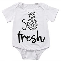 born Baby Boy Girl Kids Fresh pineapple Romper Short Sleeve Cotton Jumpsuit Clothes Outfit