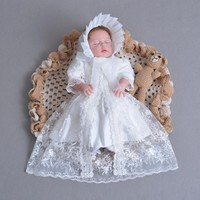 Brand 3pcs Bbay Girls Dresses With Hat Baby Girl 1 Year Birthday Clothes Baptism Lace Christening Ball Gown RBF174001