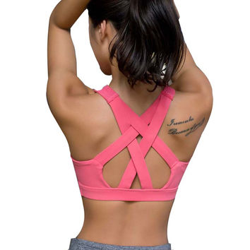 2017 Sports Bra Wide Elastic Straps Gym Running Top  Removable Padding Workout Yoga Bra Women  Fitness Stretch Underwear G-228