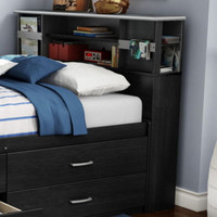 Full Bookcase Headboard With 2 Large Compartment Bedroom Furniture Black Finish