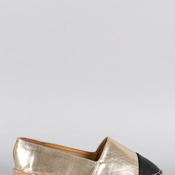 Dollhouse Metallic Toe Cap Espadrille Flat