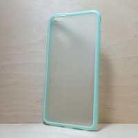 Silicone Bumper and Translucent Frosted Hard Plastic Back Case for iPhone 6 Plus (5.5 inches) - Mint Green