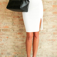 Halsey Pencil Skirt - White