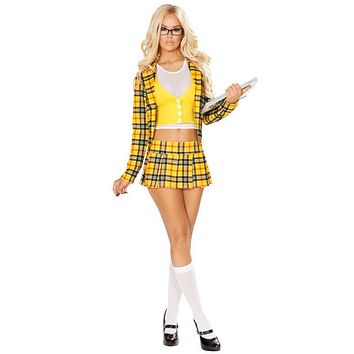 Sexy Clueless Schoolgirl Plaid Blazer and Skirt Halloween Costume