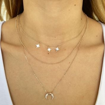 Among The Stars Layered Necklace in Rose Gold