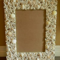 Large Real Sea Shell Trimmed Mirror or Picture Frame Beach Cottage Style Seashells Nautical Decor