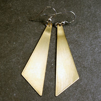Triangle Earrings - Brass and Sterling Silver - Geometric Triangle Jewelry