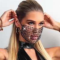 2020 New Luxury Mystic Black Mesh Veil Rhinestone Jewelry Mask for Women Bling Crystal Decoration Mask Prom Party Face Jewelry (Black)