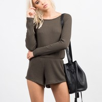 Ribbed Long Sleeve Romper