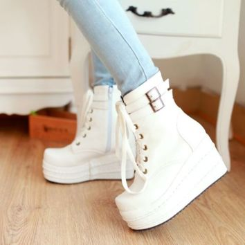 Womens Punk High Platform Wedge Heels Lace Up Goth Ankle Boots Shoes Puls Size