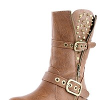 Breckelle's Rocker17 Tan Studded Buckle Ankle Boots and Shop Boots at MakeMeChic.com