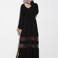 Crepon Maxi Peasant Dress