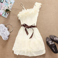 White Ruffled Chiffon Mini Dress