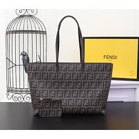 FENDI WOMEN'S FF ZUCCA CANVAS HANDBAG TOTE BAG