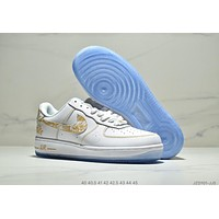 Nike Air Force 1 new style brand electric embroidery men's pure white sports shoes white+gold logo