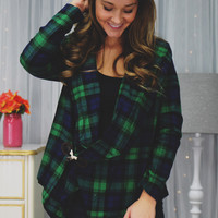 Strictly Plaid Cardigan - Emerald