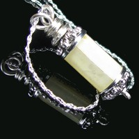Simple Mother Of Pearl Pendant On Chain Necklace, Silver Plated