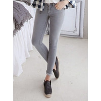 Simple Design Mid-Waisted Skinny Solid Color Stretchy Women's Jeans