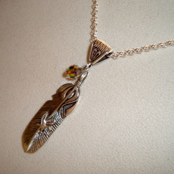 Silver Feather and Eagle Pendant Hangs on A Bail and Silver Chain - Decorated With Iridescent Bead Dangle - Handmade
