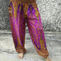 Bohemian Hobo Art Peacock Printed Yoga Pants Boho Hippies Styles Clothing Clothes Gypsy Tribal Beach Fashion Summer For Women Chic in Purple