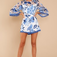 Thoughts Of Us Blue Print Romper