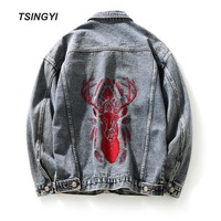 Tsingyi Embroidery Deer Retro Vintage Washed Denim Jacket Men Turn-down Collar Long Sleeve Jeans Jacket Men Bomber Mens Coats