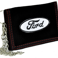 Ford Motor Company Tri-fold Wallet with Chain Alternative Clothing Truck Car Auto